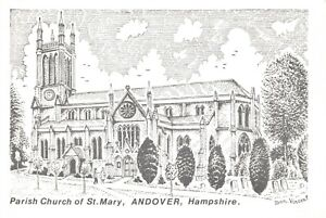 Art-Sketch-Postcard-Parish-Church-of-St-Mary-Andover-Hampshire-Don-Vincent-AS1