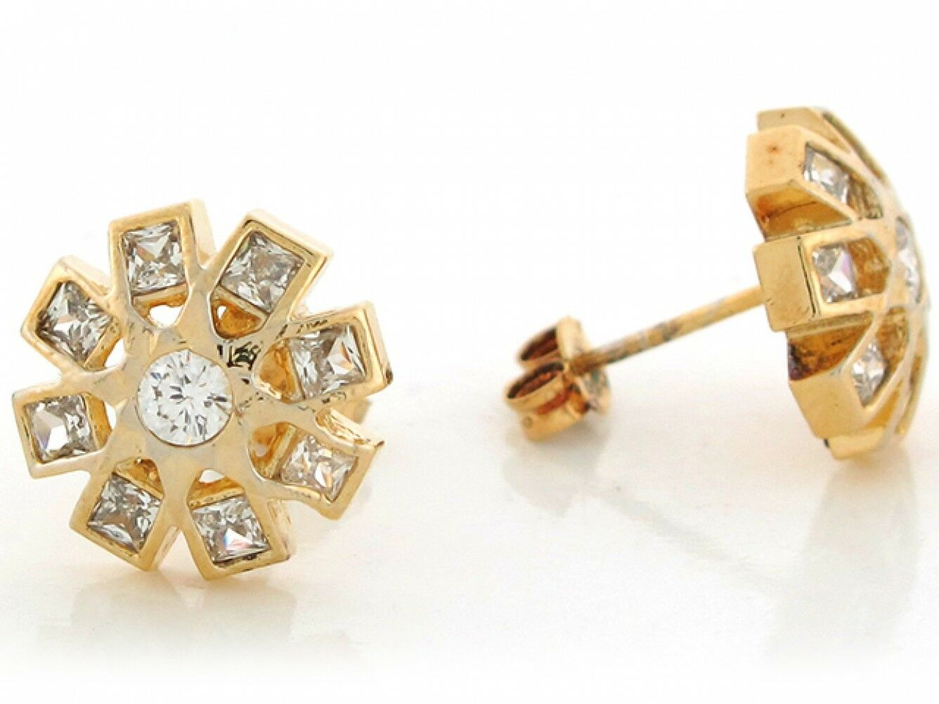 10k or 14k Real Yellow gold White CZ Cluster Floral Design 1.27cm Post Earrings