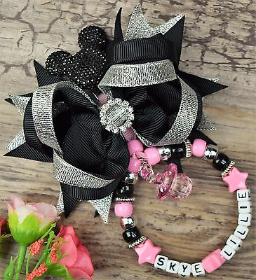Personalised stunning pram charm in black and pink for baby boys girls