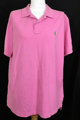 Imported From Abroad Ralph Lauren Mens Sz Xl Solid Pink Polo Shirt Rugby 100% Cotton Green Pony Logo Exquisite In Workmanship