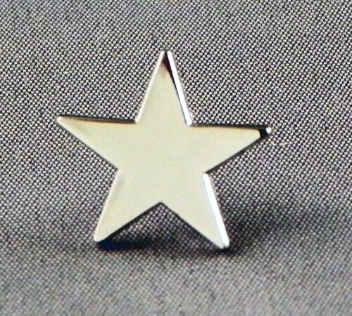 Metal Enamel Pin Badge Brooch Star 5 Five Pointed Star Pentagram Chrome or Gold