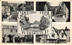 Vintage-1958-Multi-View-Real-Photo-Postcard-Greetings-from-Winchester-AY0