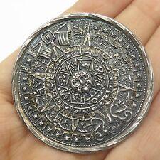 Vtg Mexico Sterling Silver Large Tribal Mayan Calendar Handmade Pendant Brooch
