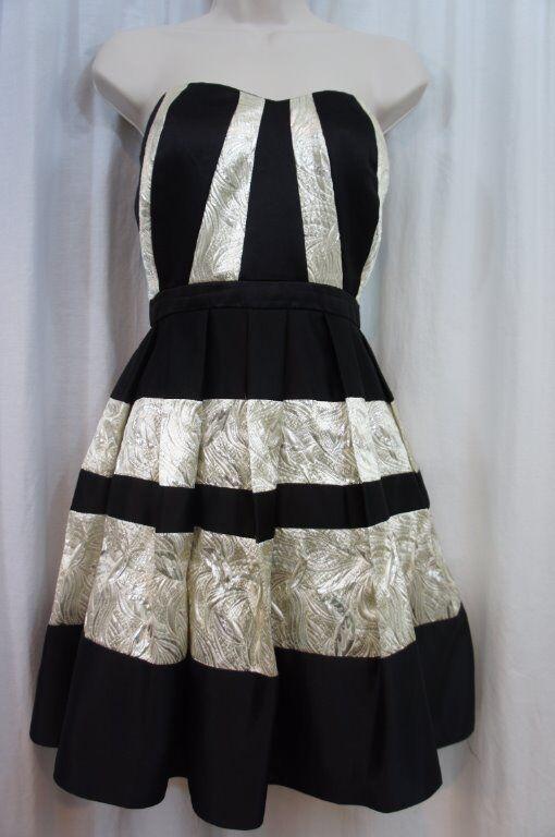 Betsy & Adam Dress Sz 8 schwarz Chrome Strapless Cocktail Evening Dress A15909