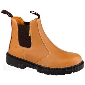 WORKFORCE-Brown-Steel-Toe-Cap-Dealer-Slip-On-Safety-Boots-Chelsea-WF16-P