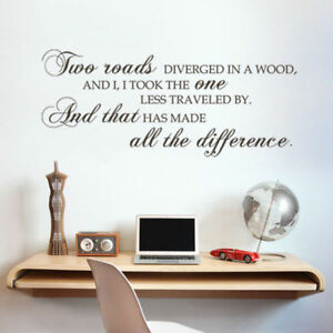 Image Is Loading Two Roads Inspirational Wall Decal Famous Saying Office