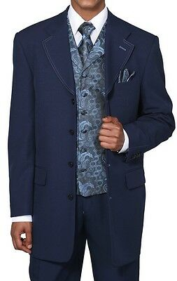Men's 4 Button Fashion Suit With Woven Vest&Tie Two Side Vents Style 6903V