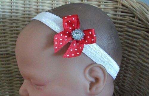 BABY GIRL//CHILD DAINTY SPOTTED BOW BLING GEM HEADBAND MANY COLOURS AVAILABLE