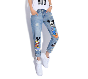 Jeans Women Mickey Mouse Casual Denim Ankle Length Boyfriend Pants Print Female