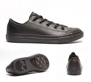 Original-Leather-Adult-Converse-Shoes-All-Star-Black-Mono-Ox-UK-3-to-11-Unisex