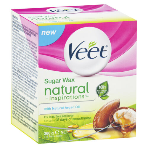VEET NATURAL INSPIRATIONS WARM SUGAR WAX WITH ARGAN OIL 360G FOR LEGS & BODY