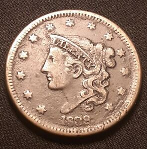 1838-Coronet-Head-Large-Cent-Very-Fine-VF-Details