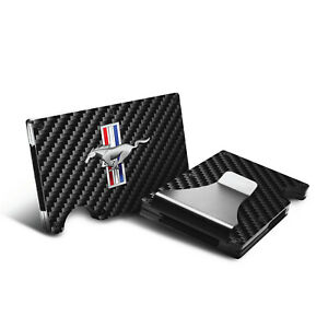 Men Wallet Bifold Black Ford Mustang Bars GT Cobra 5.0 Logo SVT Genuine