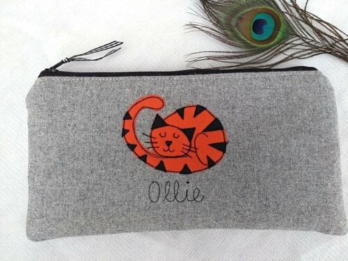 Personalised Ginger Cat Pencil Case Grey Wool or Linen Word Choice Marmalade Tom