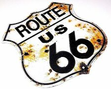 Route 66 Shield Bullet Holes Embossed Metal Sign - Made in USA Garage Shop Bar