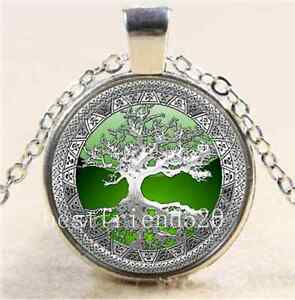 Celtic-Silver-Green-Tree-Of-Life-Glass-Cabochon-Tibet-Silver-Chain-Necklace