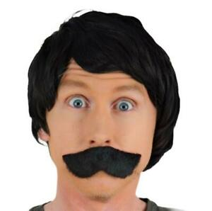 MEN/'S CURLY BLACK FANCY DRESS WIG /& FANCY SELF ADHESIVE MOUSTACHE UK DISPATCH