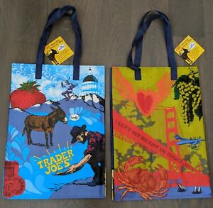 Details about TWO Trader Joe\'s Reusable Shopping Grocery Bags Lot San  Francisco Northern CA