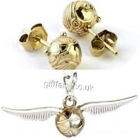 Official Genuine Harry Potter Sterling Silver Golden Snitch Studs & Charm Set