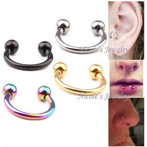 4pcs Surgical Steel Eyebrow Ear Daith Piercing Bar Horseshoe Ring