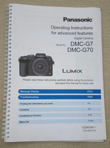 Panasonic DMC-G7 Full Color guía manual del usuario impreso de 412 páginas A5
