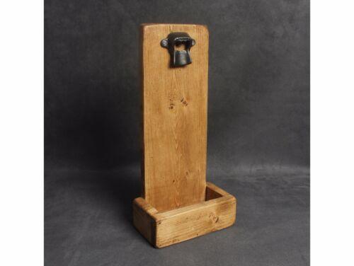 Vintage en bois /& fer décapsuleur Catch Tray Reclaimed Bière Porte Fait Main UK