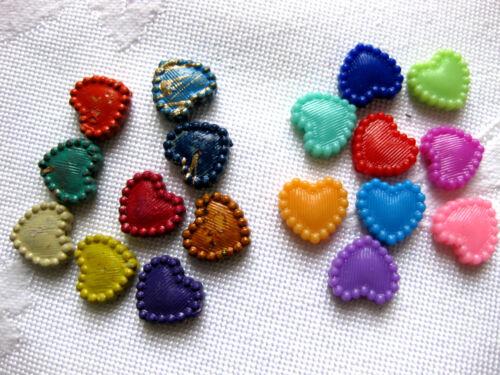A29 100 Beads,Perlen,Herzen,bunt gemischt,10mm Kunststoff