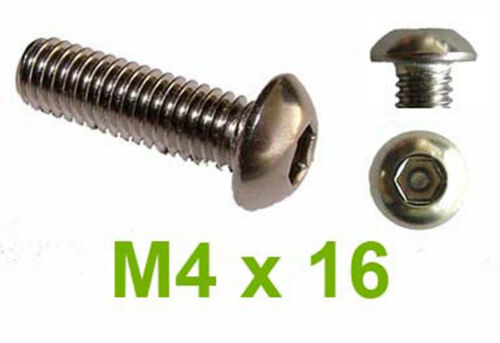 M4 x 16 Stainless Button Head Hex Security Pin 4mm x 16mm Tamperproof Screws x20