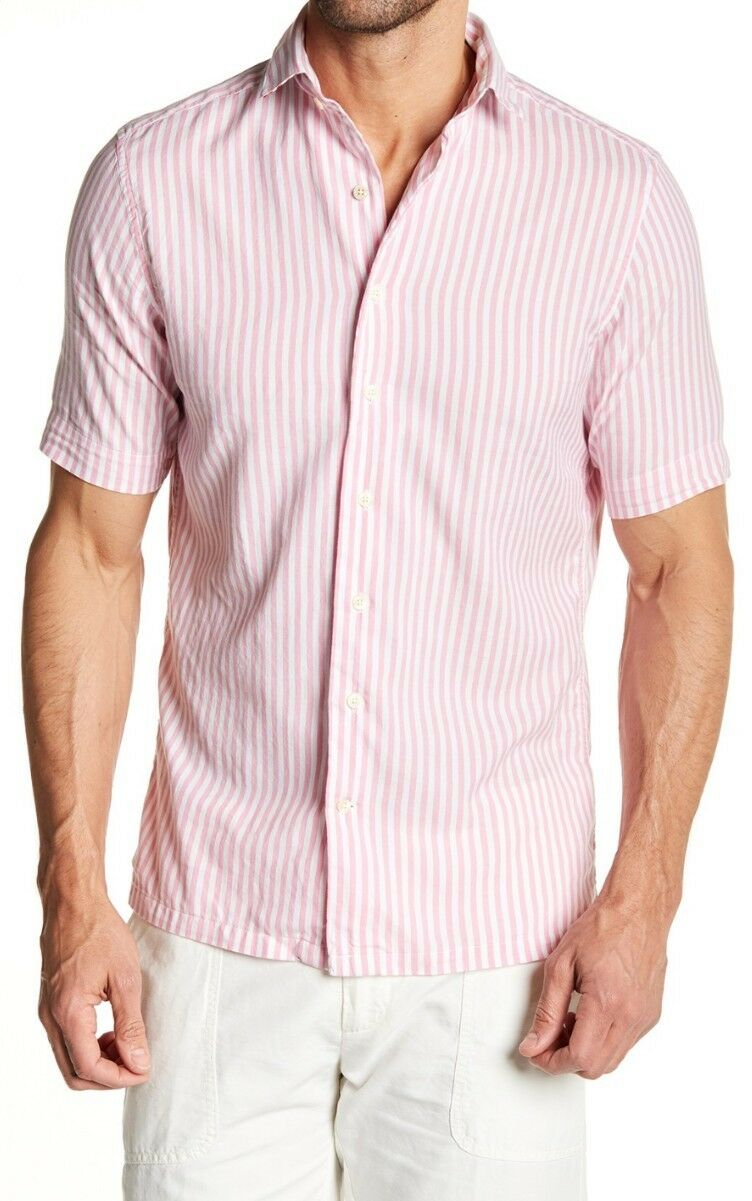 3 DAY SALE NWT  Beach Oxford Short Sleeve Fitted Shirt red Pink Sz 2XL