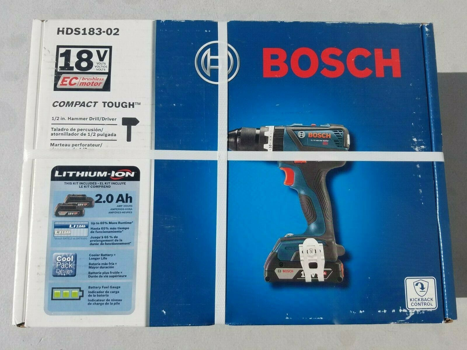 Bosch HDS183-02Compact Tough 18V 1//2 in Hammer Drill//Driver Kit Brand New.