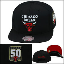 Mitchell & Ness Chicago Bulls Snapback Hat 50th Anniversary BLACK jordan 11 bred