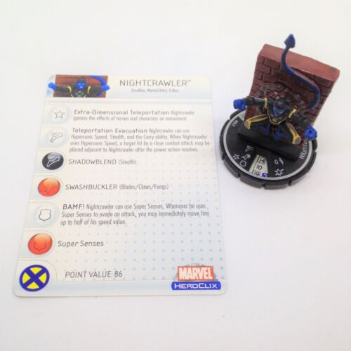 Heroclix Web of SpiderMan set Nightcrawler #047 Rare figure wcard!