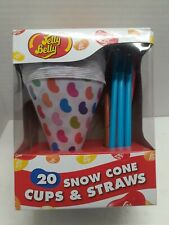 1 Box Jelly Belly Snow Cone Disposable Cups And Spoon Straws Multicolor