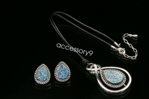 Fashion Larme Lucite Orange Triangle Collier Pendentif Boucles d/'oreilles pendantes Set S81