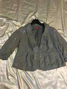 "Elle Women: Fully Lined, Sequenced, Peplum-Like 3/4 Sleeve Jacket: ""Opal Gray"""