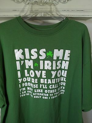 2XL green TShirt FUNNY! IRISH St Patricks Day KISS ME love you I'LL CALL YOU bar