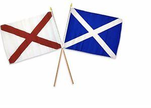 "12x18 12/""x18/"" Scotland Cross Country Stick Flag 30/"" wood staff"