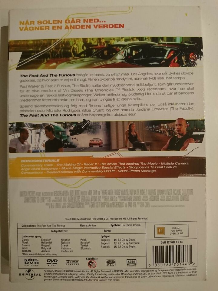 The Fast And The Furious, instruktør Rob Cohen, DVD