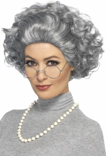 Women/'s Agatha Christie Fancy Dress Grey Wig Set Murder Mystery Crime Granny Hen