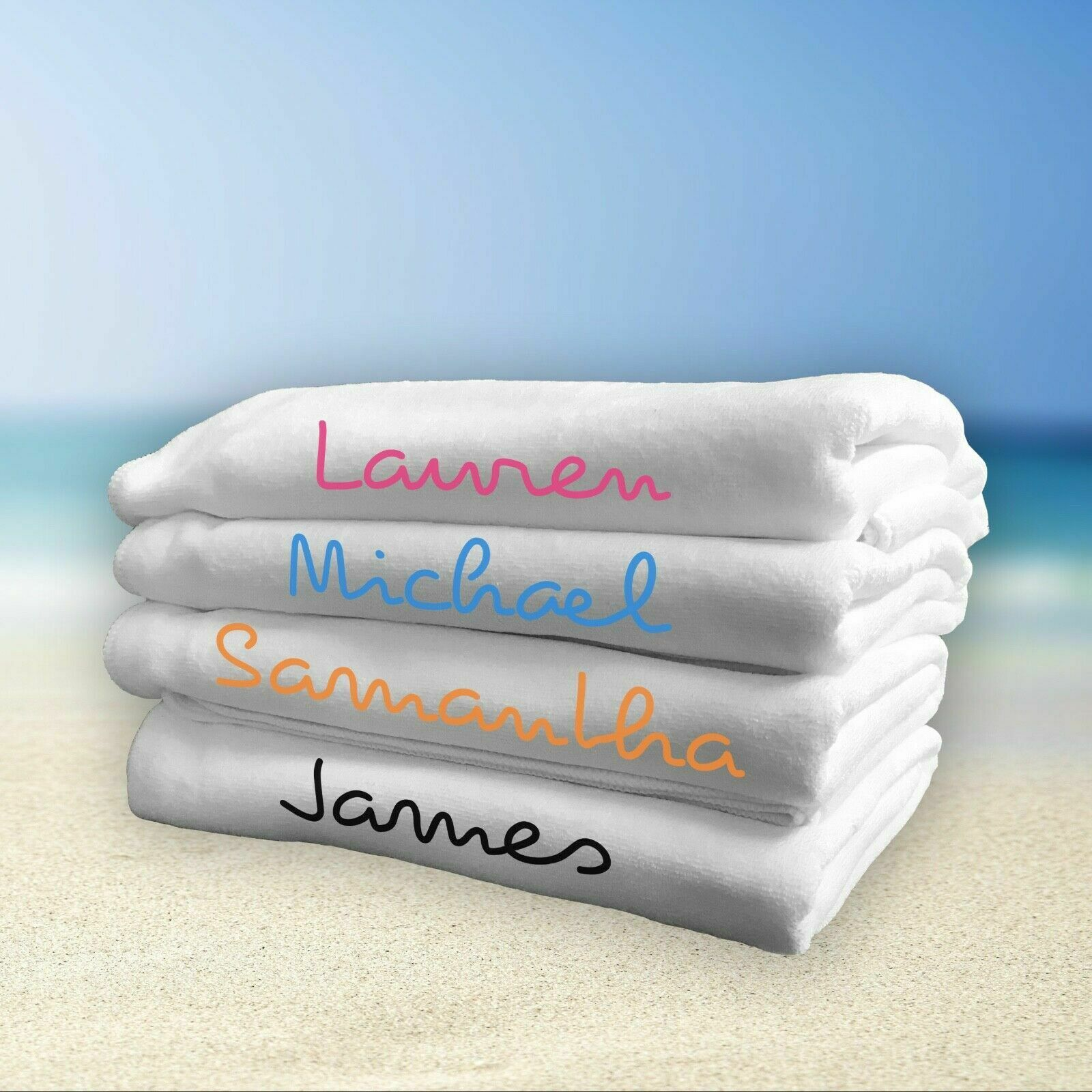 Personalised Love Towel Island Inspired, 50 x 100cm, Your Name, Multiple Colours