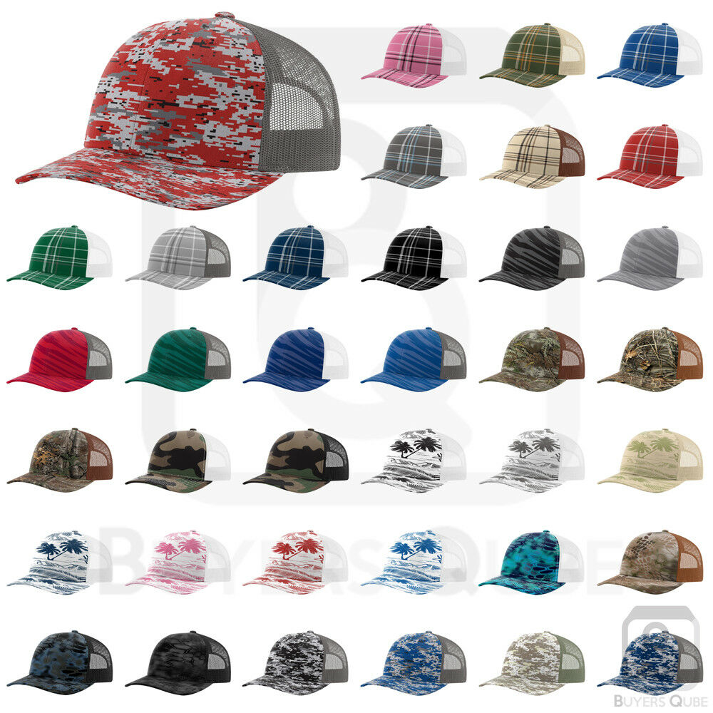 dd516b93029 RICHARDSON PATTERNED SNAPBACK TRUCKER CAP. STRUCTURED MID-PROFILE 6-PANEL  CAP - 112P