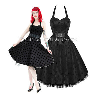 H&R LONDON BLACK W/ BIG BLACK VELVET POLKA DOTS PINUP ROCKABILLY GOTH SWING JIVE