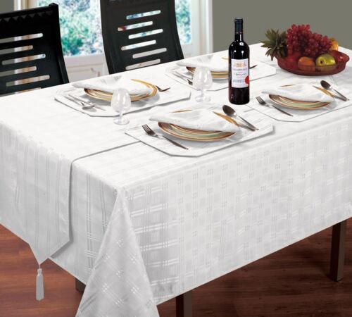 Luxueux moderne tissé carreaux jacquard blanc serviettes pour correspondre à table cloth