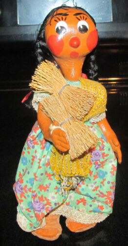 Vintage Indian Woman w Papoose Baby Paper Mache or Plastic Doll Resin