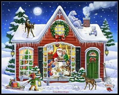 Christmas Cottage DIY DMC Chart Counted Cross Stitch Patterns Needlework