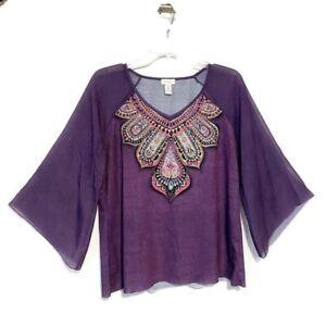 Chico-039-s-Blouse-Size-2-Medium-Purple-India-Print-Sparkle-Sheer-Sleeves