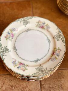 Noritake Pre-war Japan 8 Salad Plates Floral Gold Rim Good Shape Used
