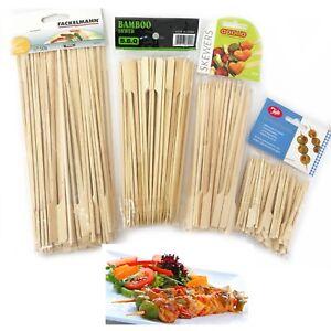 200 Bastoncini di Bambù Spiedini per barbecue BBQ Shish Kebab Fruit Bastoncini Di Legno Regno Unito