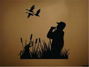 Ducks duck hunting dog duck call outdoors vinyl wall decal for Duck hunting mural