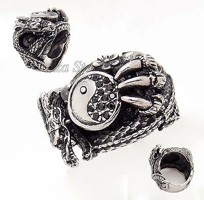 Men's YIN YANG DRAGON Claw Black CZ 316L Stainless Steel Ring Size 7-11